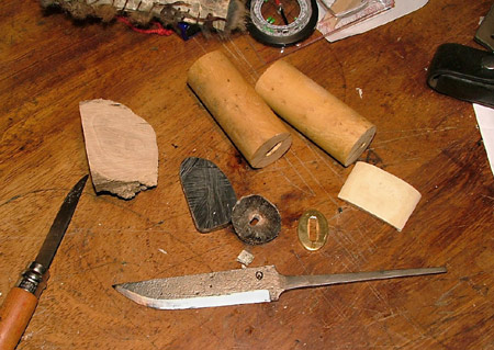 Max Farnsworth's knife blade and materials
