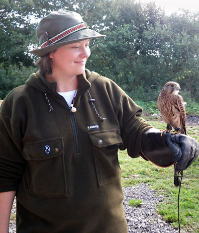 Zoe with Twilight, the Kestrel