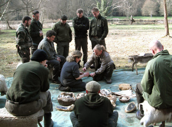 The team receive some flint-knapping lessons from expert Will Lord