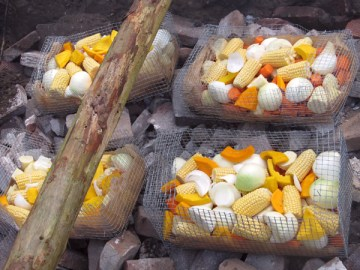 The prepared food in steel baskets, ready for cooking