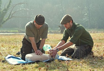 Tom and Brian practising resuscitation