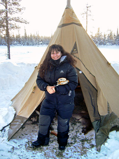 Thalia Georgiou in the Arctic, after sleeping out on the frozen lake