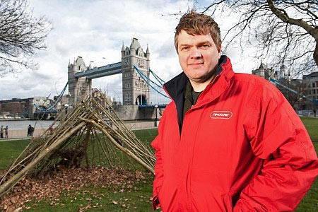 Ray Mears on location for this year's Climate Cops campaign