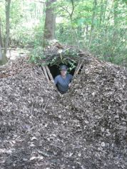 A leaf litter shelter built on the Fundamental Bushcraft course