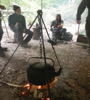 Relaxing and enjoying a brew on the Fundamental Bushcraft course