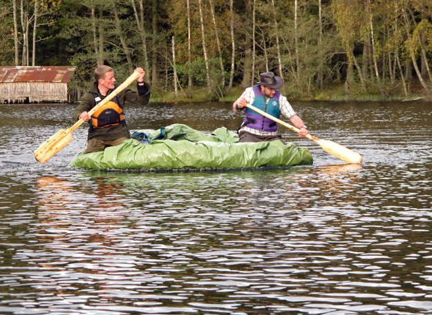 Senior Assistant Rob Bashford joins a student in paddling the loch, on Woodlore's Journeyman course in Scotland