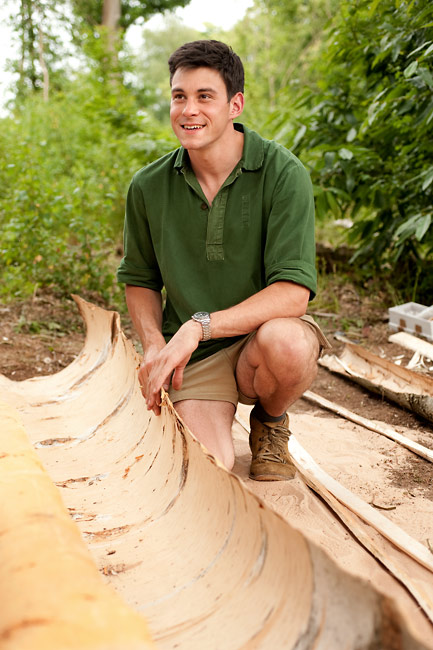 Dan Hume and his Rogue Desert Boots, during Woodlore's Birch Bark Canoe Building course