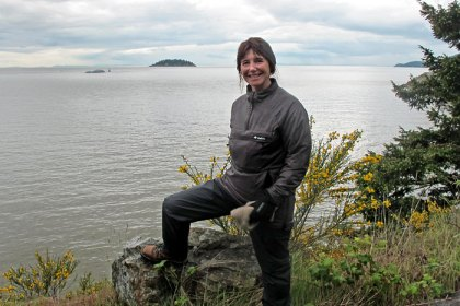 Jane with her Buffalo Active Lite Shirt on Vancouver Island