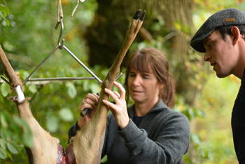 Jane helping Dan to skin the deer