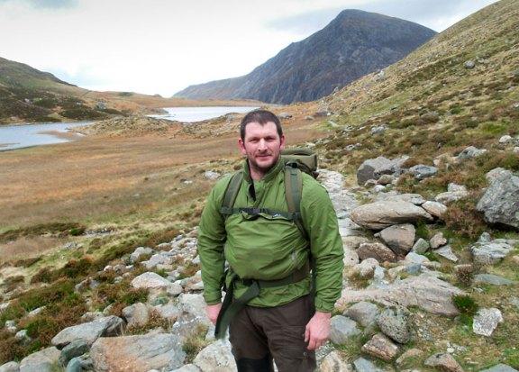 Woodlore Senior Assistant David Southey, trekking near the Devil's Kitchen in Snowdonia