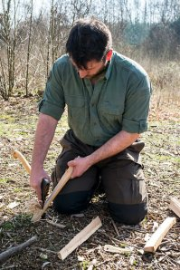 David Southey carving during Woodlore's staff training