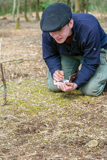 A small adder being identified and observed by a student on the Woodlore Advanced Tracking course