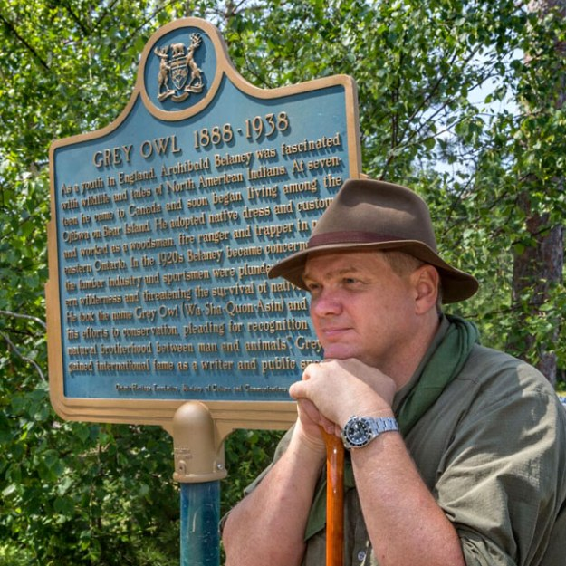 Ray Mears with Grey Owl Plaque, Temegami, Canada