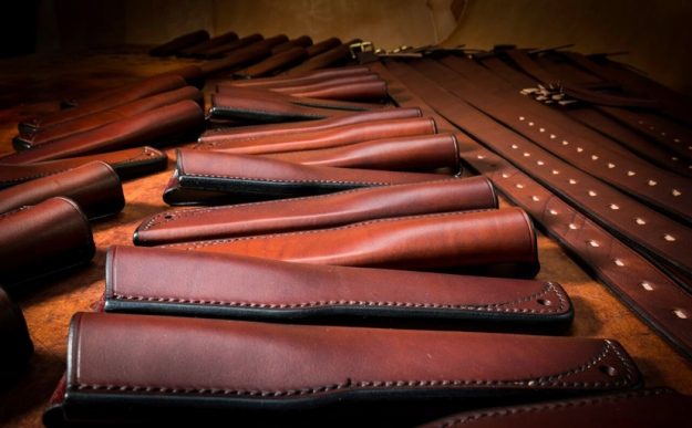 Leather knife sheaths and leather belts